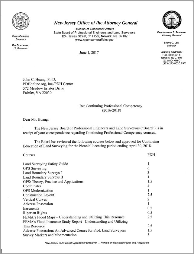 New Jersey LS Board Approval Letter